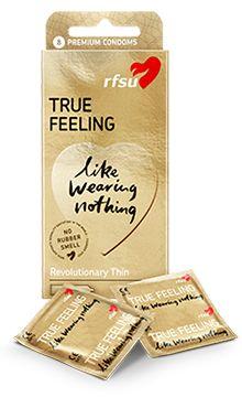 RFSU True Feeling er sensasjonelt tynne kondomer som gir en optimal naturlig og deilig nær huden opplevelse – nesten som uten!