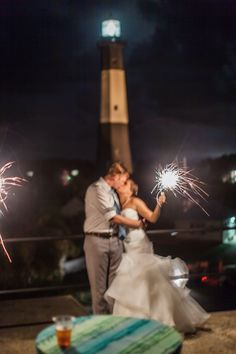 Wedding Beach Tybee Island Lighthouse Sparklers Destination