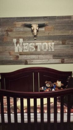 I stenciled his name with a stencil I cut out on my cricut machine. Western rustic nursery. Baby boy Country Boy Names, Rustic Boy Names, Country Babys, Country Baby Rooms, Western Nursery, Rustic Nursery, Rustic Baby, Western Decor, Baby Boy Bedding