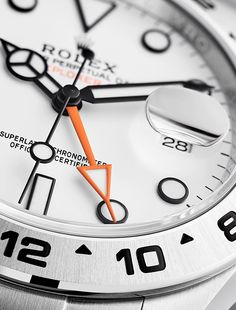 Rolex Watches New Collection : Illustration Description The signature feature of the Explorer II is the display with its striking orange hand and a fixed, satin-finished bezel in Oystersteel. Sport Watches, Cool Watches, Rolex Watches, Vintage Watches For Men, Luxury Watches For Men, Rolex Boutique, Montres Hugo Boss, Rolex Cosmograph Daytona, Rolex Explorer Ii