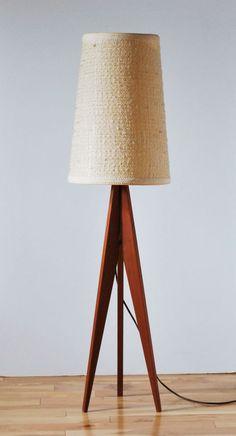 Mid Century Modern Danish Rare Scandinavian Tripod teak floor lamp & shade