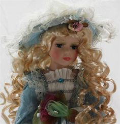 """COLLECTIBLE PORCELAIN LIMITED ADDITION VICTORIAN DOLL BLOND IN BLUE 16"""" KB16078 #Kinnex"""