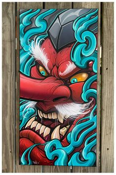hexagonal canvas - acrylic and airbrush. Sealed with a UV matte spray and shipped in the United States and Canada via ups. Japanese Tattoo Art, Japanese Art, Tengu Tattoo, Koi Dragon, Samurai Artwork, Stoner Art, Forearm Tattoo Design, Graffiti Drawing, Pencil Drawings