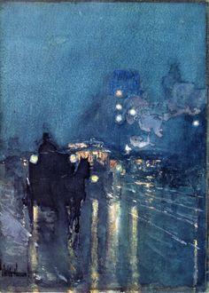Frederick Childe Hassam: Nocturne, Railway Crossing, Chicago (1892-93)