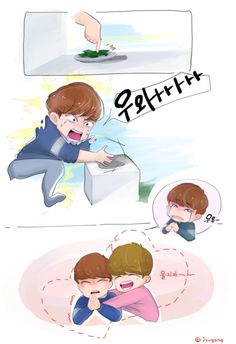 "B1A4 Gonchan and Sandeul feat the scary seaweed in a box, pikicast heart attack fanart via tumblr by jyugong:  ""昆布事件  """