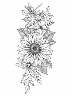 Flower Thigh Tattoos, Sunflower Tattoos, Sunflower Tattoo Design, Sunflower Drawing, Flower Tattoos On Shoulder, Daisy Flower Tattoos, Sunflower Tattoo Sleeve, Watercolor Sunflower, Small Tattoo Designs
