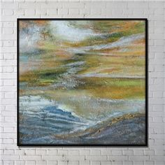Contemporary Wall Art Prairie Abstract Wall Print with Black Frame 40