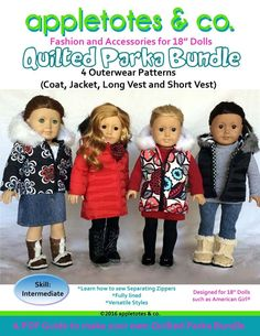 Quilted Parka Bundle for 18 inch Doll Pattern American Girl Our Generation Journey Girls 4 Styles doll dress Appletotes & Co. by Appletotes on Etsy Doll Sewing Patterns, Sewing Dolls, Doll Clothes Patterns, Pdf Patterns, Clothing Patterns, Sewing Tutorials, Dress Patterns, Sewing Projects, American Doll Clothes