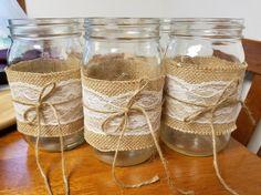 Rustic Mason Jar with Burlap and Lace Wedding Centerpiece Wide mouth Mason Jar by JJKrafty on Etsy