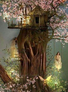 a fairy tree house : ) Fairy Dust, Fairy Land, Fantasy World, Fantasy Art, Fairy Tree, Fairy Pictures, Beautiful Fairies, Fantasy Landscape, Fairy Houses