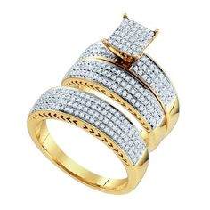 His And Her Wedding Ring Set 10CTW DIAMOND FASHION TRIO SET 10KT Yellow Gold 100000
