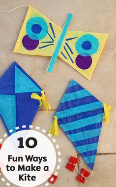 Kites are a fun and exciting toy to play with on a windy, warm day! Check out these 10 Fun Ways to Make Kites at home, with materials you already have, to enjoy all summer long.