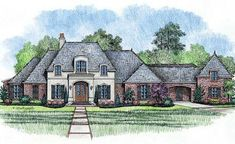 French Country Style House Plans - 4000 Square Foot Home , 1 Story, 4 Bedroom and 3 Bath, 3 Garage Stalls by Monster House Plans - Plan 91-1...
