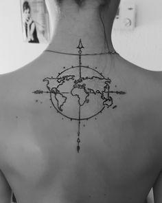Travel tattoo  #tattoo #map #compass #traveltattoo #necktattoo #indie #boho
