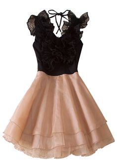 Black Round Neck Sleeveless Ruffles Polyester Tiered Dress
