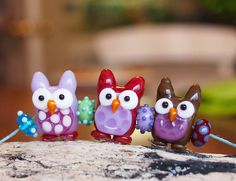 3 Little Owls Handmade Lampwork Glass Bead Set - In Stock
