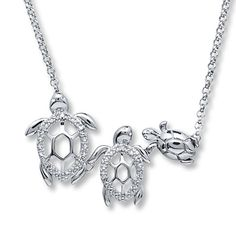 Turtle Family Necklace Diamond Accents Sterling Silver kay jeweler