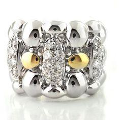 Michael Valitutti Palladium/ / 14k Gold Clear Cubic Zirconia Ring