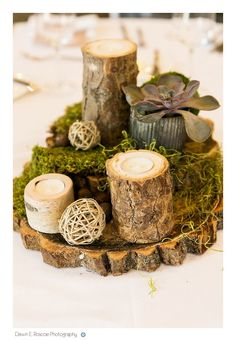 Twine, moss and tree accents create a #rustic and unique #weddingcenterpiece.