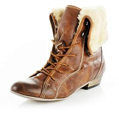 light brown lace up ankle boots LOVE