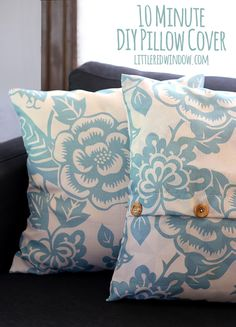 Make an incredibly quick and easy 10 Minute DIY Pillow Cover with functioning buttons with this one secret trick!
