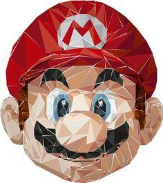 Polygon art - Nintendo Mario on Behance Super Smash Bros Characters, Nintendo, Polygon Art, Low Poly, Teaching Art, Mosaic Art, Iphone Wallpaper, Mario, Logo Design