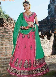 Sea Green Pink Embroidery Work Diamond Work Wedding Net Lehenga Choli http://www.angelnx.com/Lehenga-Choli/Designer-Lehenga-Choli