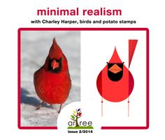 Minimal realism and Charley Harper, birds for kids (potato stamps with arTree), lesson and power point presentation