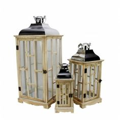 Northlight Seasonal 31524355 Country Rustic Light Brown Wooden Lanterns with Silver Handles 30. 5 inch