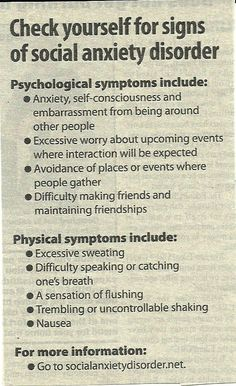 Signs for Social Anxiety Disorder...