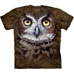 The Mountain GREAT HORNED OWL T-SHIRT Big Face 3D Tiger Owl Hoot Bird Tee S-3XL  #TheMountain #GraphicTee