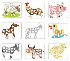Farm animal do-a-dot printables featuring a sheep, rooster, pig, horse, goat, duck, donkey, cow, and chick || Gift of Curiosity