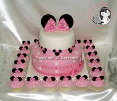 Minnie Pink Cake And Cupcakes Mouse  cakepins.com