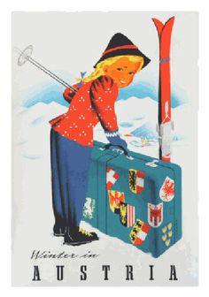 Vintage Ski Poster Winter In Austria Atelier Hofmann Travel Poster Old Poster, Retro Poster, Poster Ads, Poster Prints, Art Prints, Ski Vintage, Vintage Ski Posters, Vintage Sport, Etsy Vintage