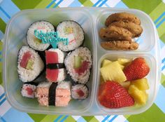 BentoLunch.net - What's for lunch at our house: Sushi Birthday Bento for my Husband