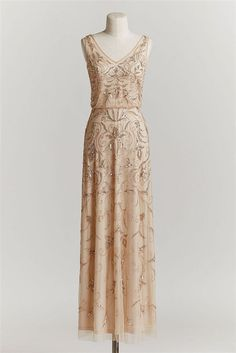 sequins stitched upon champagne tulle champagne wedding dress