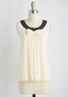 A Sweet Zeal Top - Mid-length, Knit, Woven, Cream, Black, Polka Dots, Bows, Sleeveless