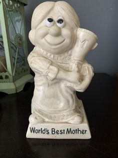 Vintage Russ and Wallace Berrie Sillisculpt Collectable Figure, World's Best Mother, 1970, Resin, holding a Trophy, Kitschy, Kitsch, Cool! Cherry Blossom Bonsai Tree, Trophy Cup, Great Gifts For Mom, Best Mother, Queen Anne, Hand Blown Glass, Yellow Flowers, Kitsch, Happy Shopping