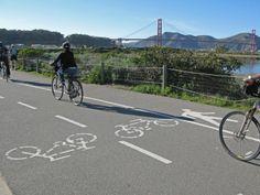 BICYCLE PATHS, next to Crissy Field. Paths, Bicycle, Symbols, Street, Bike, Bicycle Kick, Bicycles, Walkway, Glyphs