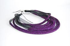 Multi row black mesh necklace with purple seed beads by Vittro, $65.00