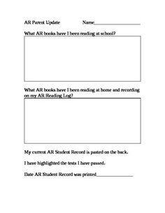This AR Parent Update form accompanies the AR Student Record from the Accelerated Reader program.