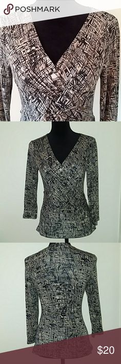 """Abstract Print Cable & Gauge Top, 3/4 sleeves Office wear! Nice top by Cable & Gauge. Abstract print in black, bluish gray, tan, and cream. Beautiful gathered knot, twist, or weave at the front. V- neckline, 3/4 sleeves - a great transitional piece!  Measurements: 16"""" armpit to armpit, 23"""" shoulder to hem.  Offers and questions are encouraged! Cable & Gauge Tops Blouses"""