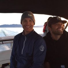 Jensen AcklesVerified account @JensenAckles Not sure it was a good idea to let this guy drive a boat...#ScaredLaughter @mishacollins