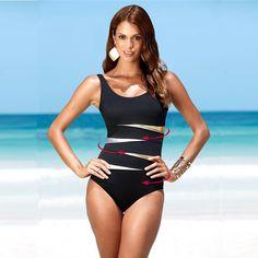 1c8bfcb9fb8c8 4XL Plus Size Swimwear Solid Bling Gold Swimwear 2018 One Piece Swimsuit  Women Vintage Retro Bathing Suits Monokini Swimsuit