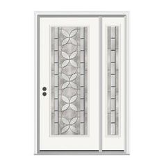 JELD-WEN, Aspirations Full Lite Primed Steel Entry Door with 12 in. Sidelite, H28811 at The Home Depot - Mobile