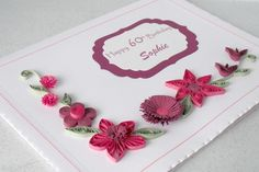 Quilled 60th birthday card handmade paper by PaperDaisyCardDesign, £6.00