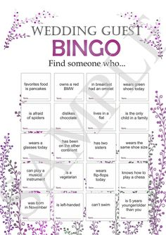 Wedding reception games, customized wedding game, wedding games for guests, printable bingo game, icebreaker for guests. wedding bingo Hochzeitsempfang Spiele Hochzeitsspiele ElinaWedding on Etsy Wedding Bingo, Wedding Reception Activities, Wedding Games For Guests, Wedding Day, Wedding Venues, Wedding Invitations, Wedding Speeches, Diy Wedding, Invitations Online
