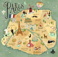Pin van that's det op paris is always a good idea! - paris m Paris Map, Paris Travel, France Travel, Map Of France, Travel Maps, Travel Posters, Illustration Parisienne, Deco Paris, Paris Illustration