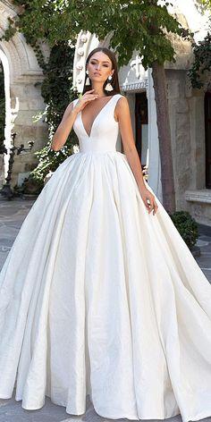 18 Modest Wedding Dresses Of Your Dream ❤  modest wedding dresses ball gown v neckline simple sleveless eva lendel ❤ Full gallery: https://weddingdressesguide.com/modest-wedding-dresses/