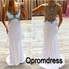 Long prom dress, ball gown, 2016 unique design v-neck white chiffon occasion dress for teens